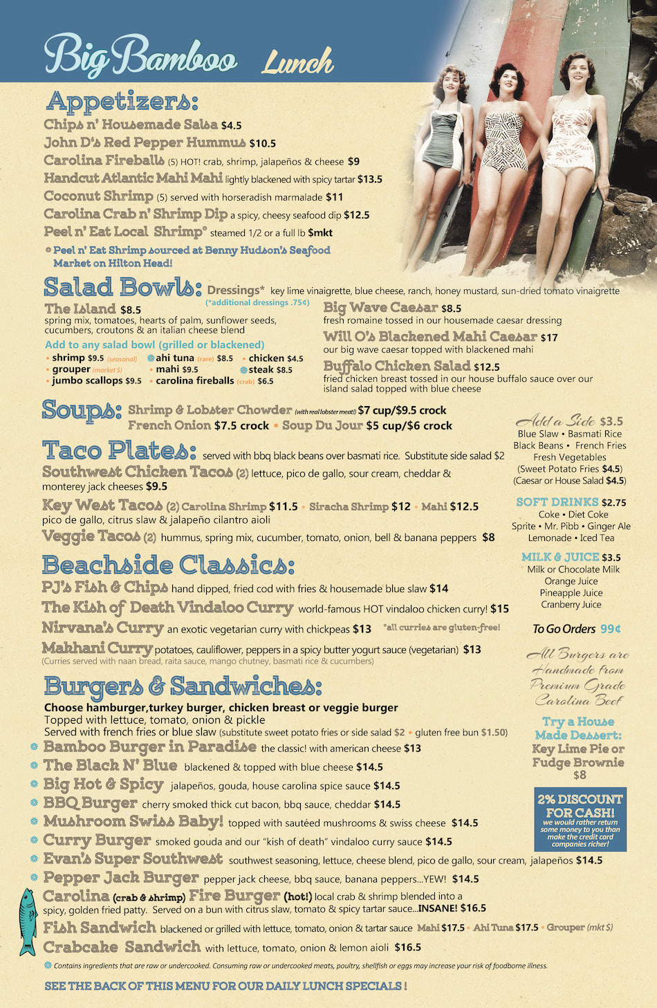 Big Bamboo Cafe HHI Lunch Menu Hilton Head Island