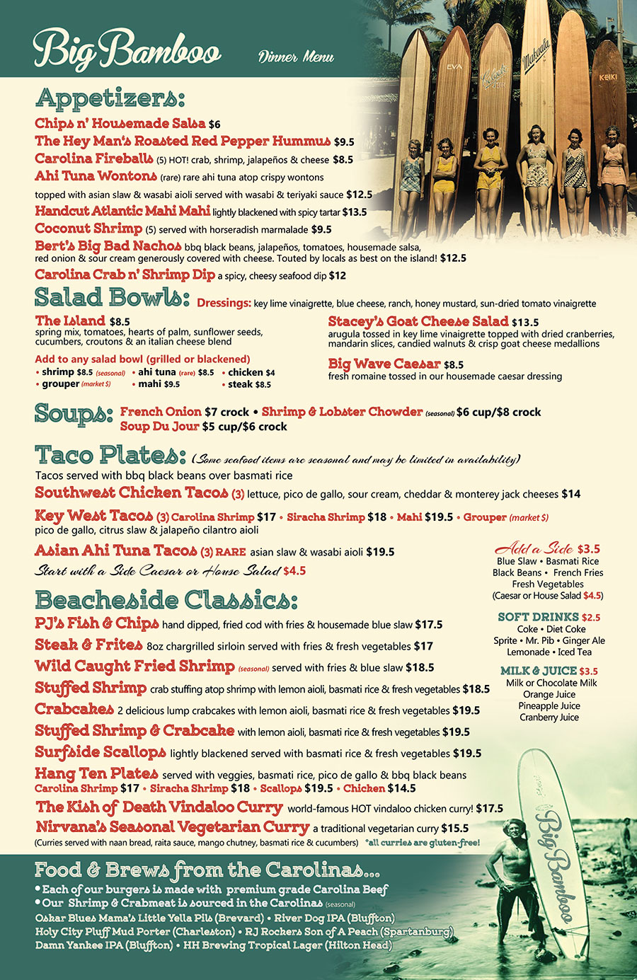 Big Bamboo Cafe Dinner Menu